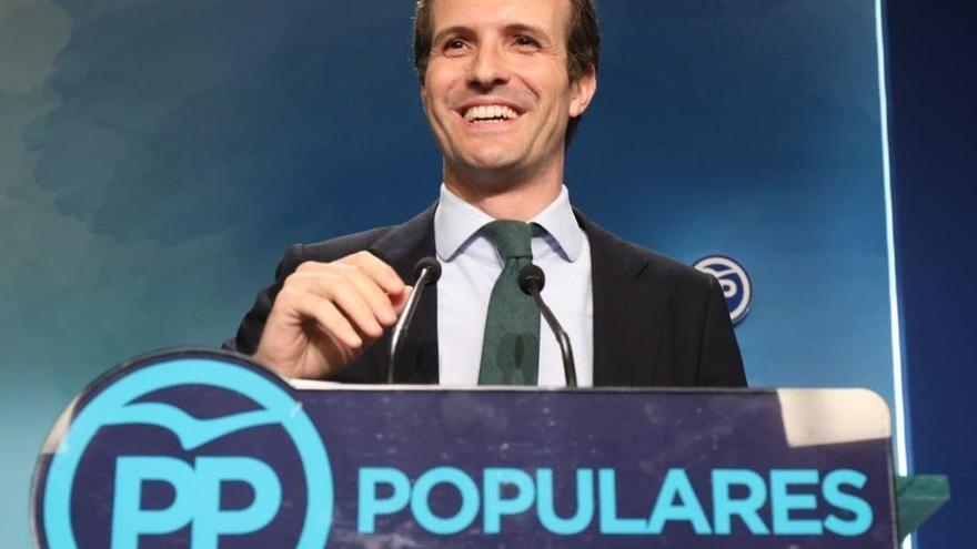 Casado quedó segundo en la votación de los afiliados del PP.