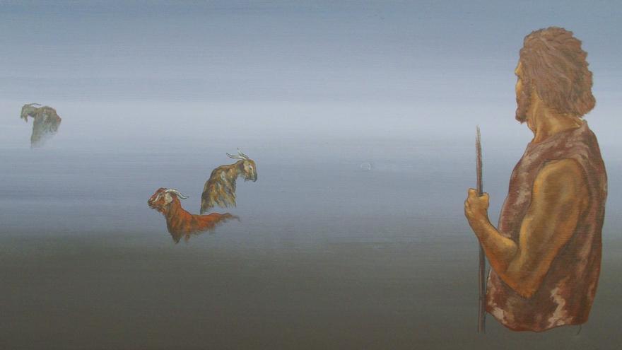 En la imagen, una de las obras de Luis E. Fierro sobre los guanches.