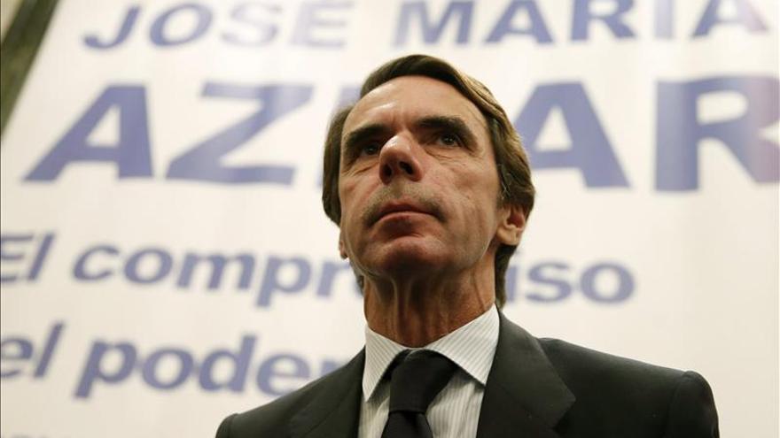El expresidente del Gobierno José María Aznar durante la presentación de la segunda parte de sus memorias. / Efe