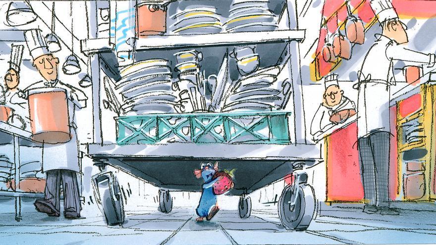 Ilustración digital de Harley Jessup de la huída de Remy de la cocina (Ratatouille, 2007). / Disney/Pixar