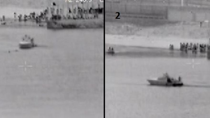 Una patrullera española rescata a inmigrantes en el mar, en aguas españolas (1), y los devuelve de forma ilegal a Marruecos (2)/ Captura de una de las grabaciones efectuada por una cámara térmica de seguridad fronteriza.