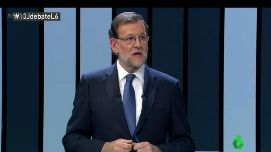 El presidente del Gobierno en funciones, Mariano Rajoy, durante una intervención en el debate a cuatro