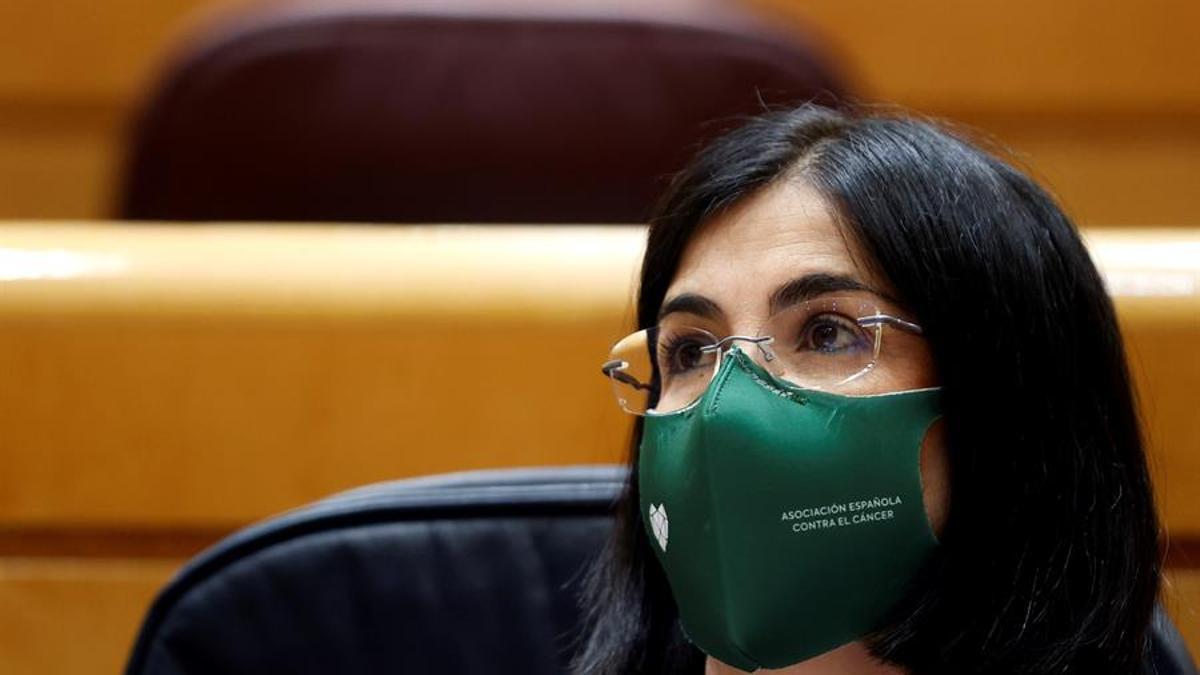 La ministra de Sanidad Carolina Darias, en la sesión de control al Gobierno de este martes en el Senado