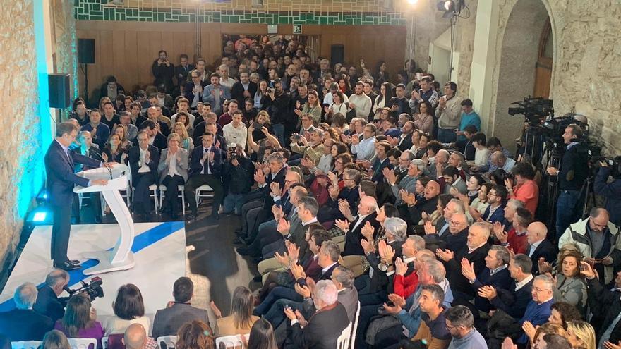 Feijóo en el acto en el que anunció que volverá ser candidato a la Xunta por cuarta vez