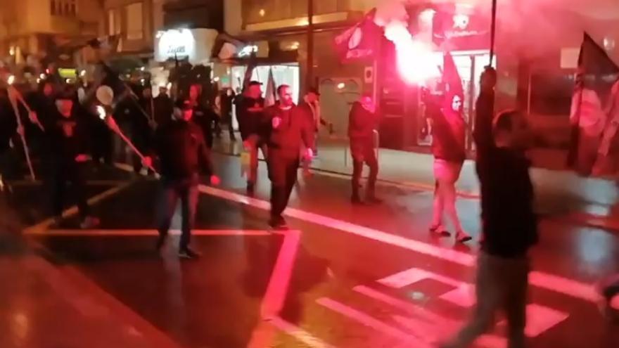 Imagen de la marcha de las antorchas nazi del pasado sábado en València