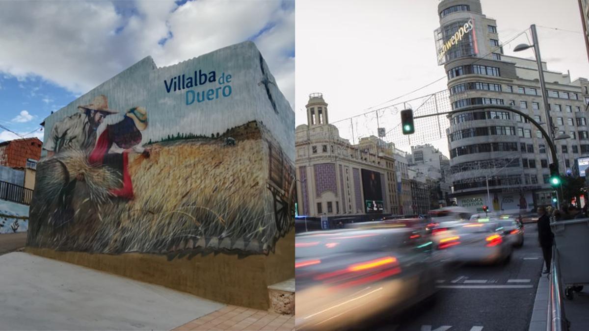 Villalba de Duero en Burgos y la Gran Vía de Madrid