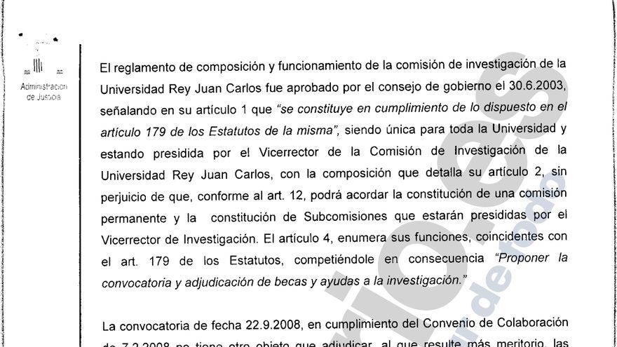 Una de las páginas de la sentencia contra la Universidad Rey Juan Carlos