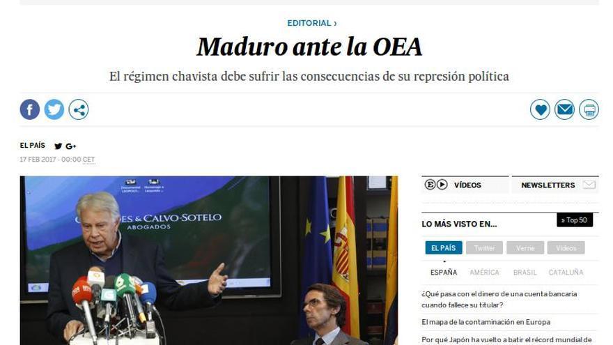 """Editorial de El País """"Maduro ante la OEA""""."""