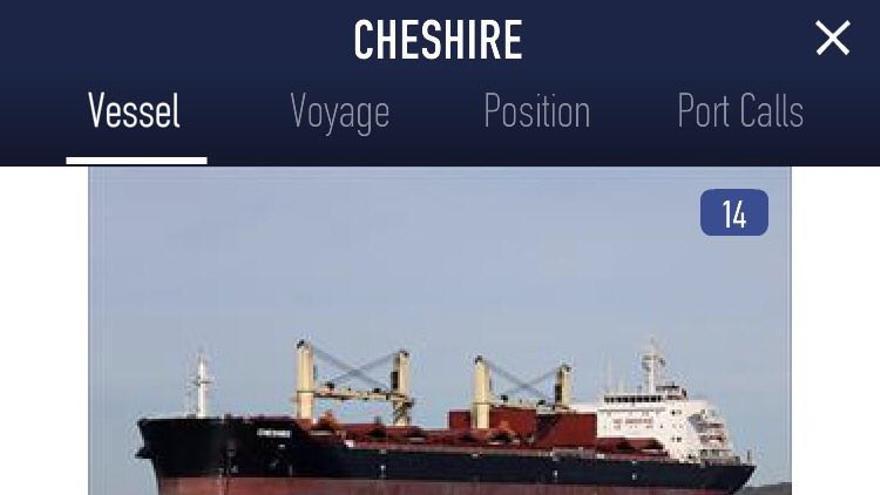Ficha técnica del Cheshire según MarineTraffic.