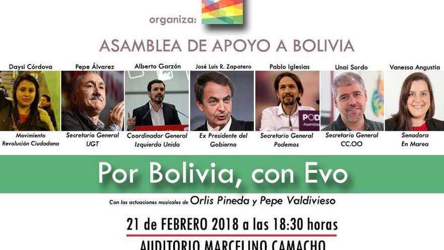 Convocatoria de la asamblea de apoyo a Bolivia