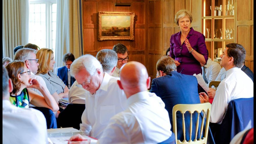 July 6, 2018 - Chequers, Chequers, United Kingdom - Theresa May Brexit Meeting at Chequers.Britain's Prime Minister Theresa May discussing Brexit during a meeting with her cabinet at her country residence Chequers.