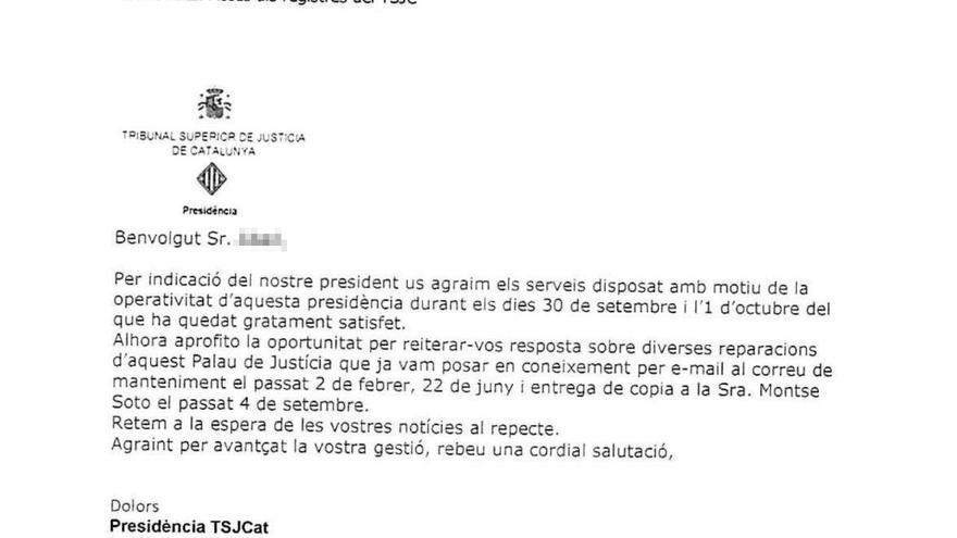 Segundo correo enviado por la presidencia del Tribunal Superior