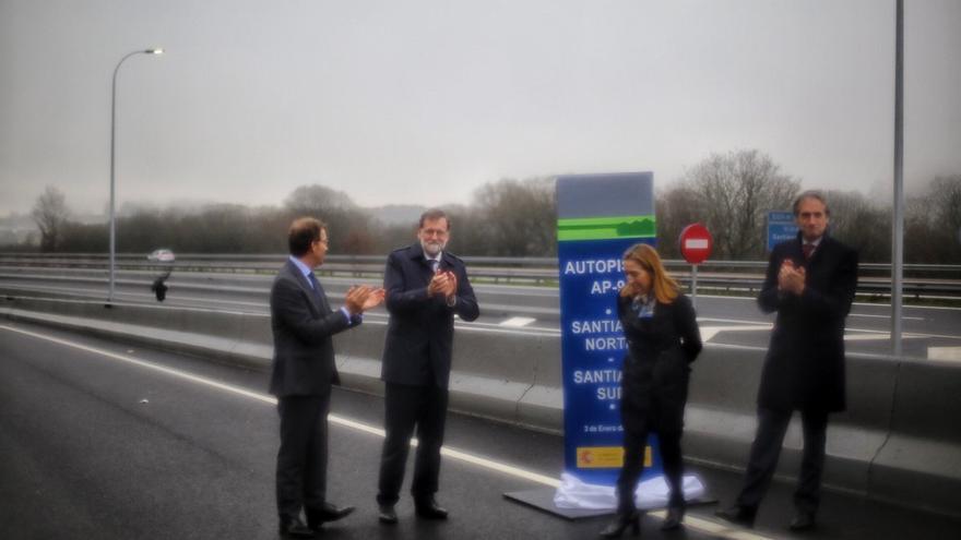 Feijóo, Rajoy, Pastor y De la Serna, en la inauguración de la ampliación da AP-9 a su paso por Santiago
