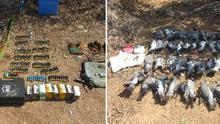 Piezas abatidas, el arma y las municiones abandonadas por los cazadores en su huida.