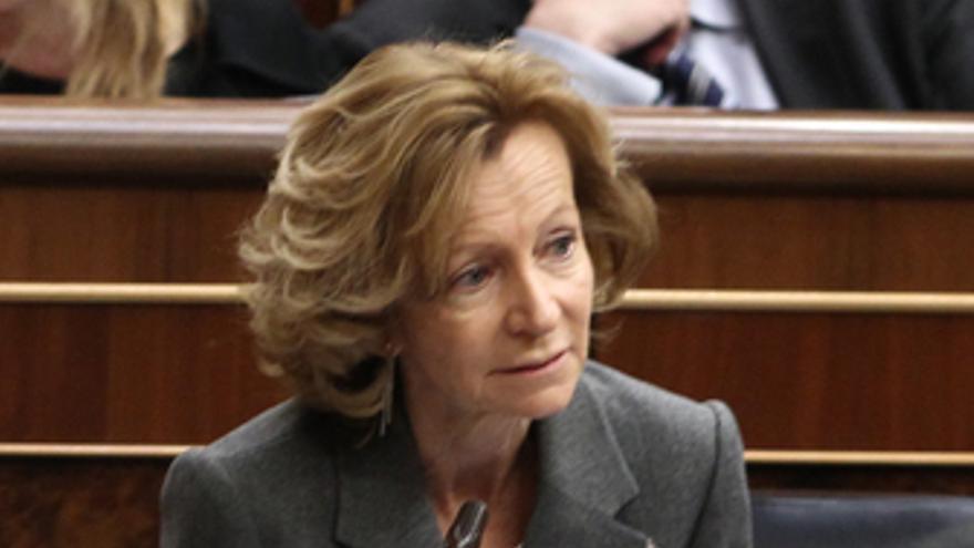 Elena Salgado en el Congreso. (EUROPA PRESS)