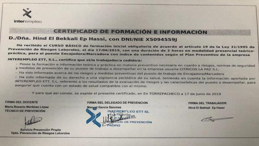 Documento aportado por Cítricos La Paz