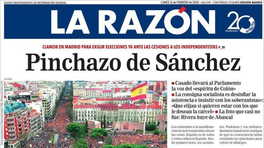 Portadas de prensa sobre la manifestación de la derecha en Colón