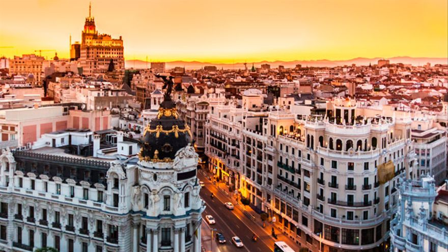 Vista aérea del centro de Madrid.