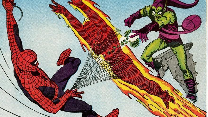 La batalla entre tres personajes de Marvel: Spiderman, la Antorcha Humana y el Duende Verde