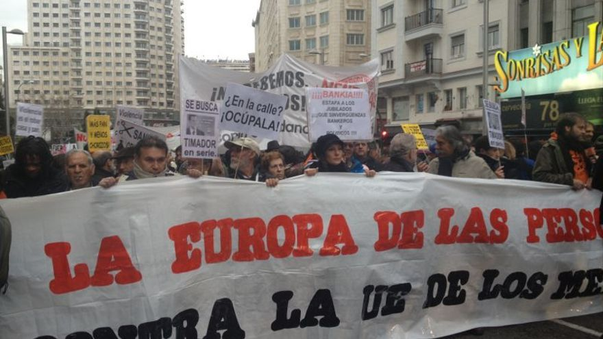 Cabecera de la marcha contra la UE de los mercados