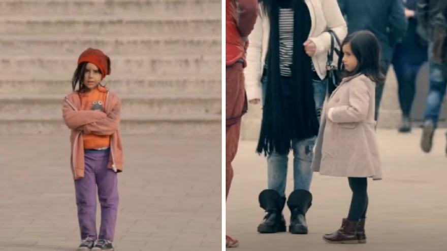 Anano, en dos momentos de la campaña de Unicef '¿Qué harías si vieras a una niña de 6 años sola en la calle?'.
