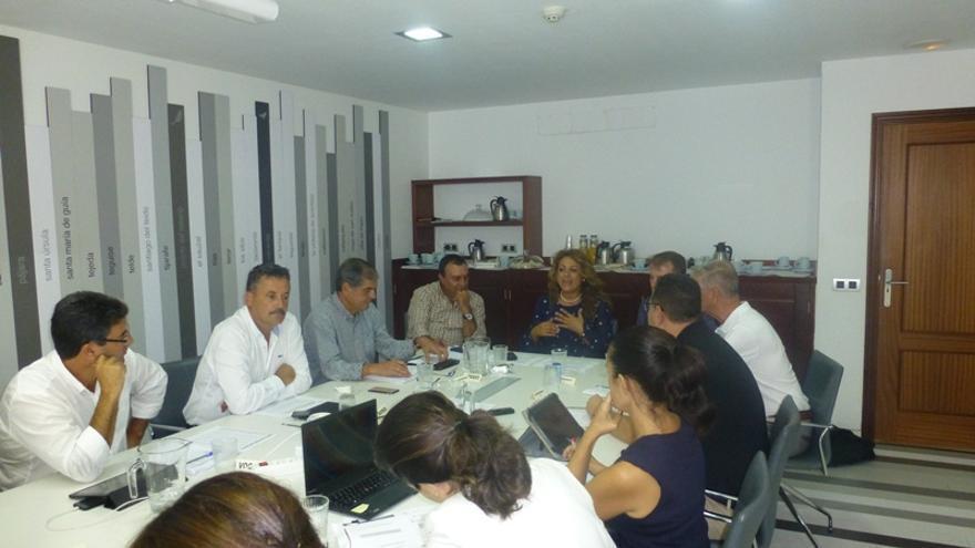 Reunión de los representante de la Fecam con la consejera de Empleo, Políticas Sociales y Vivienda del Gobierno de Canarias, Cristina Valido.