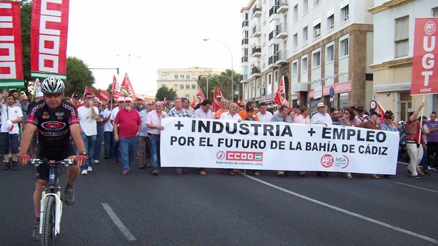 Una reciente manifestación por la creación de empleo en Cádiz.
