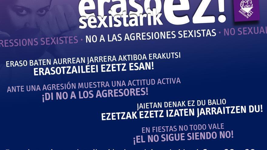 Cartel de Gora Iruña contra las agresiones sexistas.