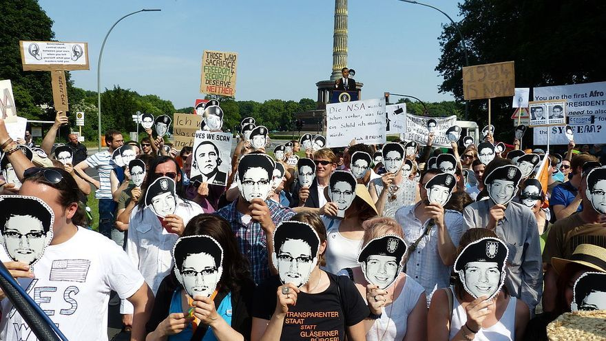 Manifestación contra de la NSA en Berlín en 2013 (Imagen: Wikipedia)