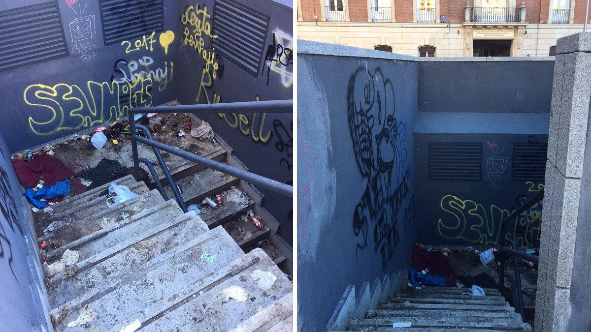 Suciedad en la escalera del aparcamiento de los Jardines del Arquitecto Ribera | AVCHUECA (archivo)
