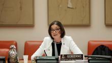 La ministra de Industria, Comercio y Turismo, ReyesMaroto, durante su comparecencia en la Comisión del Congreso de los Diputados, hoy jueves en Madrid..