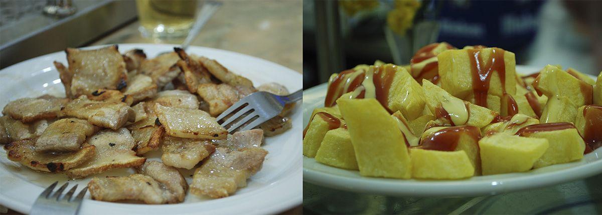 Díptico panceta y patatas bravas