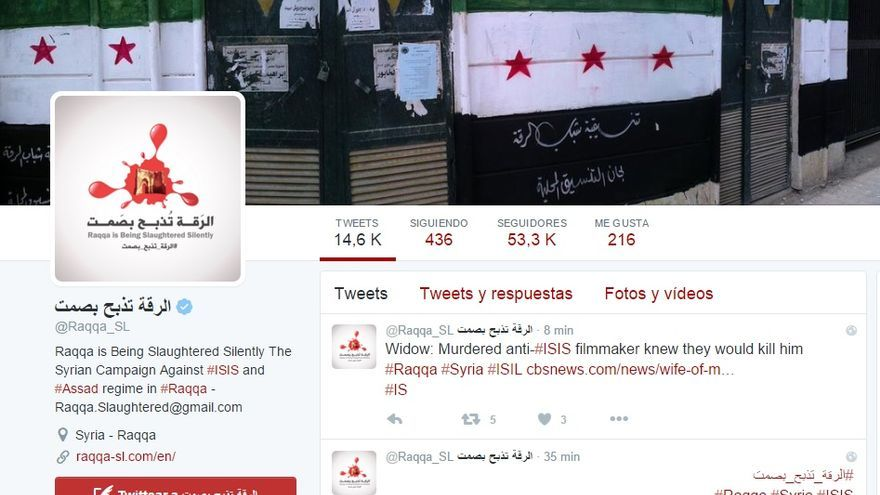 Twitter oficial de 'Raqqa is Being Slaughtered Silently'