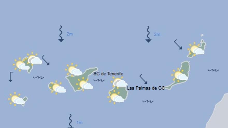 Mapa con la previsión del tiempo para este lunes, 21 de noviembre