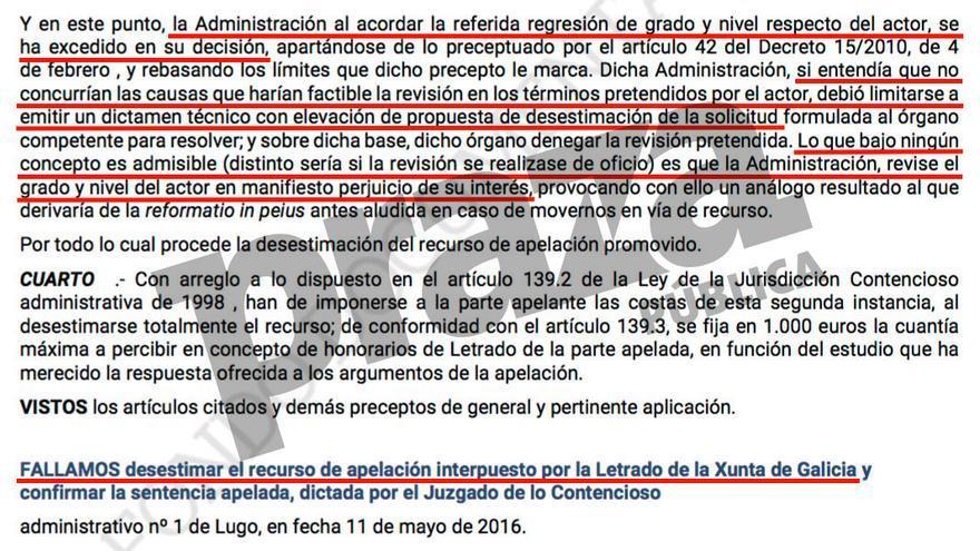 Sentencia del Tribunal Superior de Justicia de Galicia del pasado 22 de febrero contra la Xunta por rebajarle la dependencia a un ciudadano