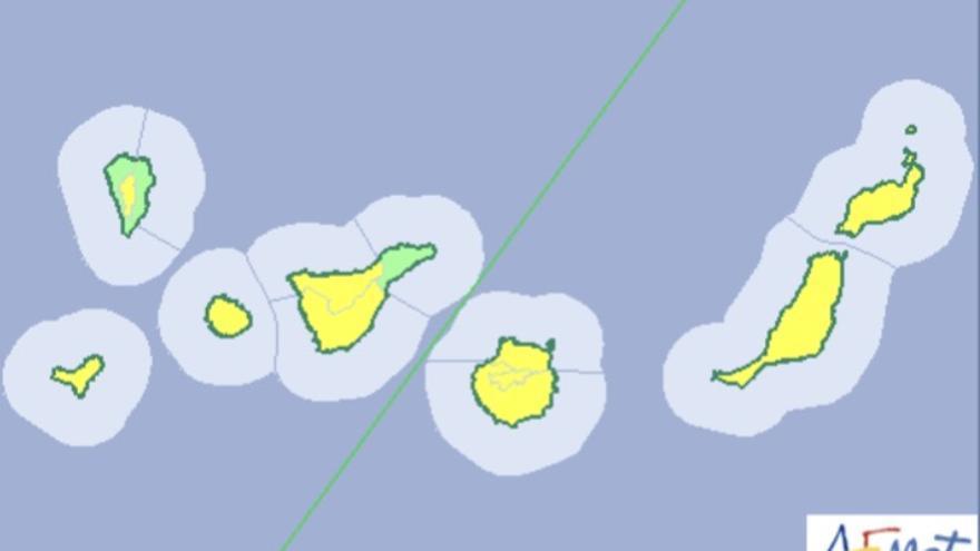 Mapa de la Aemet del aviso por viento para este  lunes.