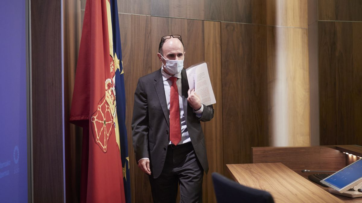 Manuel Ayerdi, en la comparecencia en la que presentó su dimisión como consejero de Desarrollo Económico y Empresarial del Gobierno de Navarra.