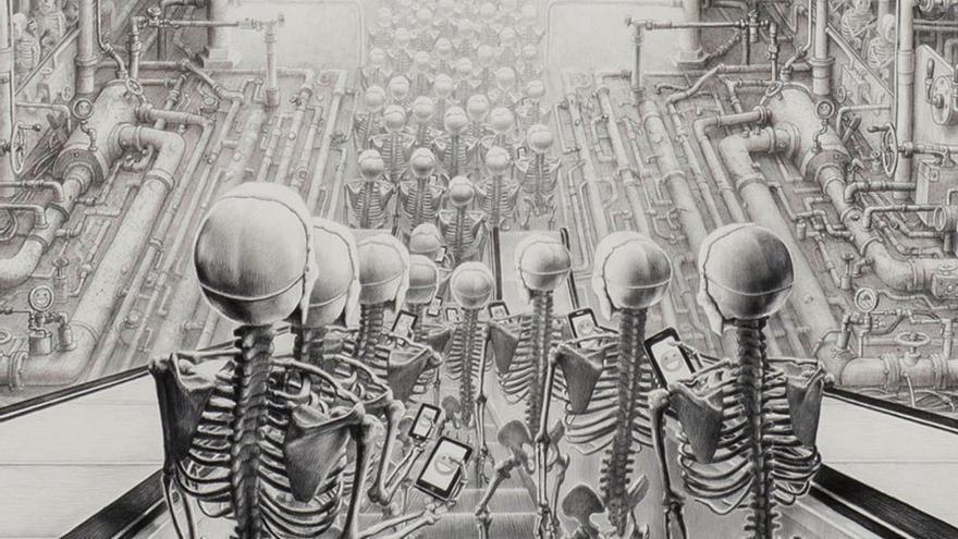 Obra de Laurie Lipton titulada 'Felices'.
