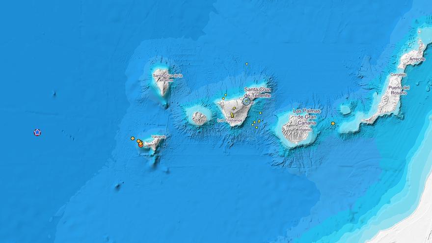 Ubicación del temblor de magnitud 5,7 registrado en aguas de El Hierro