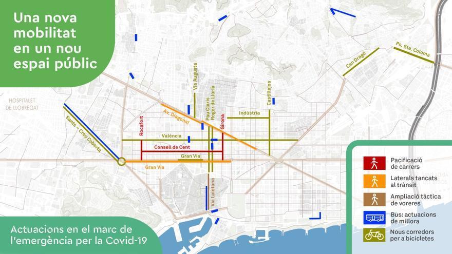 Mapa de las nuevas actuaciones en las calles de Barcelona