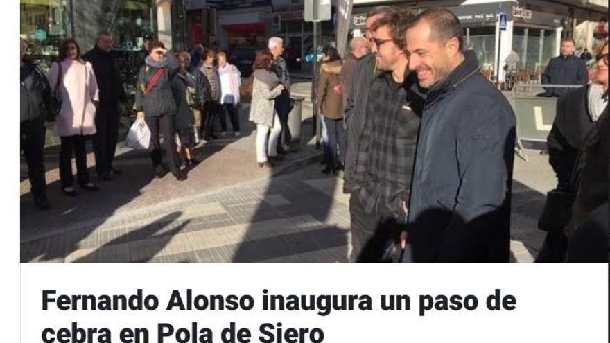 Fernando Alonso inaugura un paso de cebra