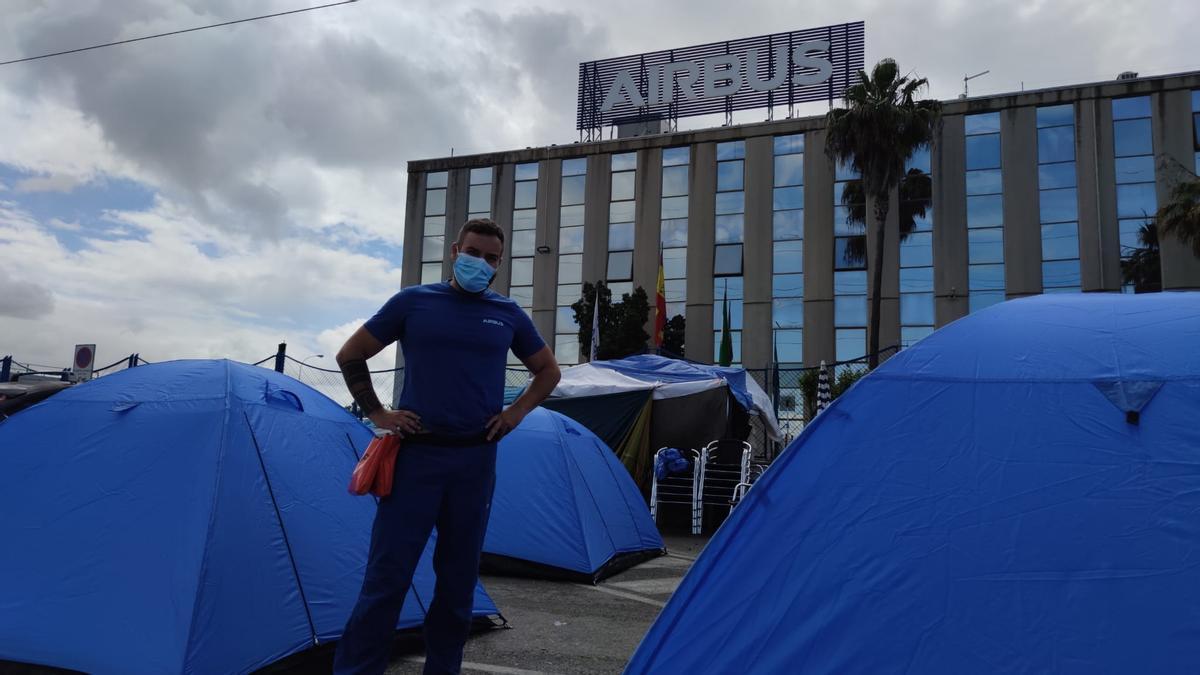 Acampada de Airbus en Puerto Real