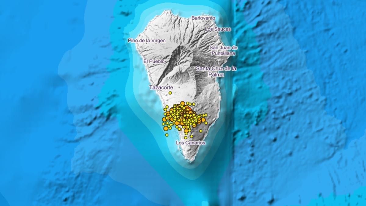 Gráfico del enjambre sísmico de Cumbre Vieja. IGN