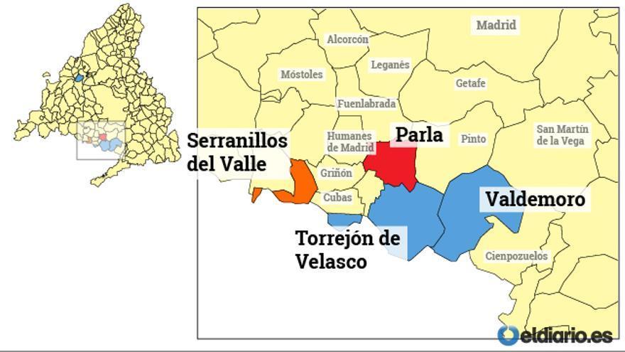 Mapa de las alcaldías implicadas en la Operación Púnica / Elaboración: A. Navarro