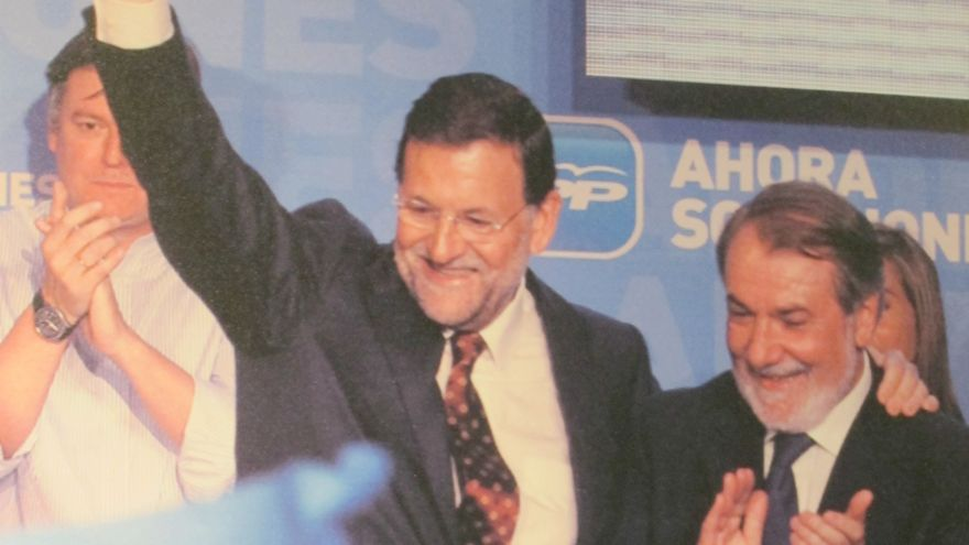 La exposición fotográfica de la convención del PP no recoge ninguna foto en la que Aznar y Rajoy posen juntos
