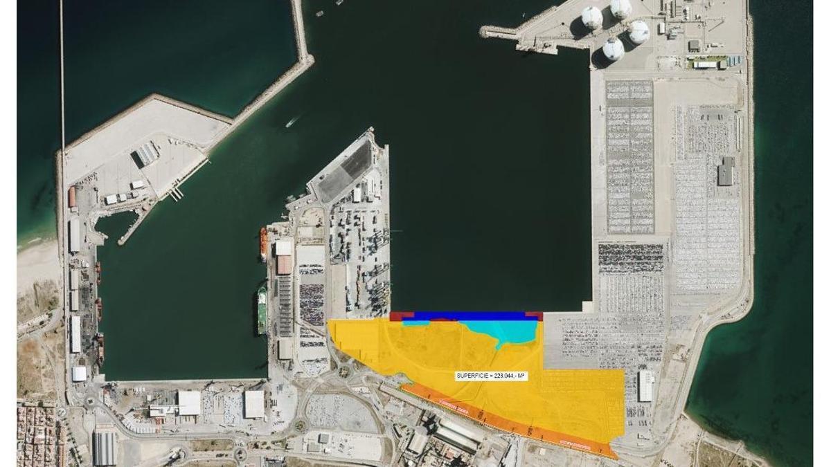 El Puerto de Sagunto, con el espacio previsto para la nueva terminal en amarillo.