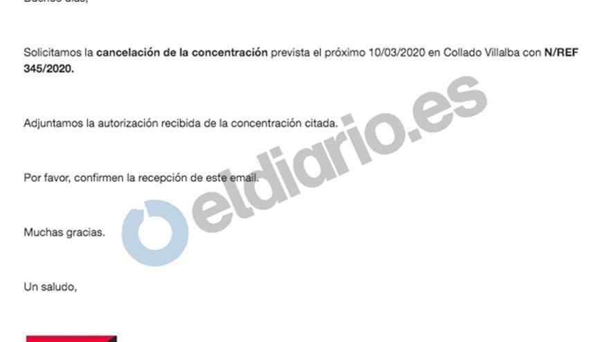 Solicitud de cancelación de la manifestación remitida a la Delegación del Gobierno