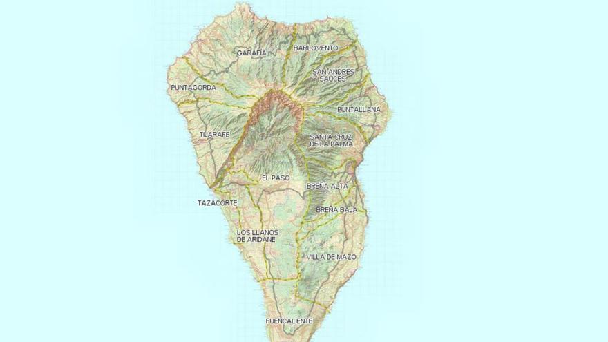 Mapa topográfico de La Palma.