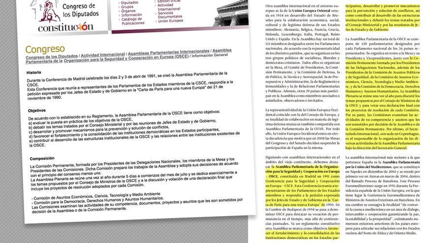 Texto plagiado sobre la OSCE.