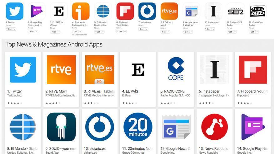 Apps más descargadas en la categoría de Noticias en España para iPhone y Android